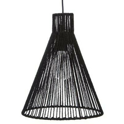 "Lampe Suspension Design ""Corde"" 37cm Noir"