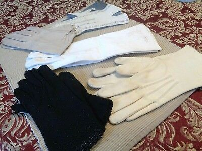 Vtg 1960's Lot of 5 Pairs Ladies Gloves Cotton Leather White Cream Gray Blk Bead
