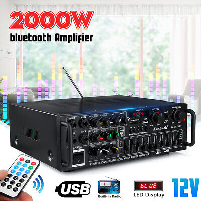 2000W bluetooth Stereo Amplifier HIFI 2CH Tuner Remote Control USB LED SD Mic