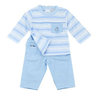 Baby Boys Spanish Style Traditional Sky Blue Striped Top /& Trousers Suit 9-24M
