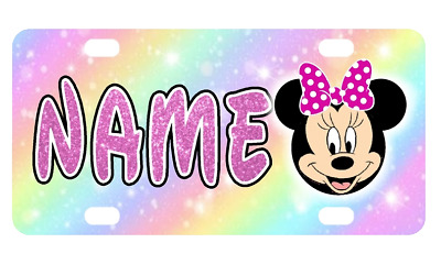 MINNIE MOUSE MINI LICENSE PLATE Any Name Personalized Kids Bikes Wagons Wall