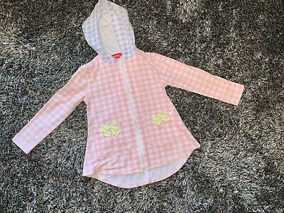 Excellent Condition - Kate Mack White & Pink Gingham Hooded Cover Up - Age 4