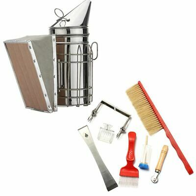 Beekeeping Tools Kit Bee Hive Smoker Bee Brush Queen cage Uncapping Fork Be J6N5