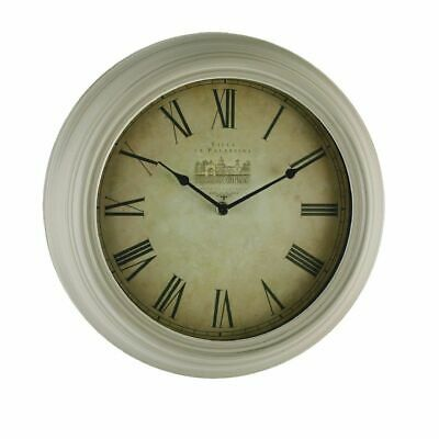 34cm Round Antique Cream Wall Clock,Station Style.New.CRAZY CLEARANCE