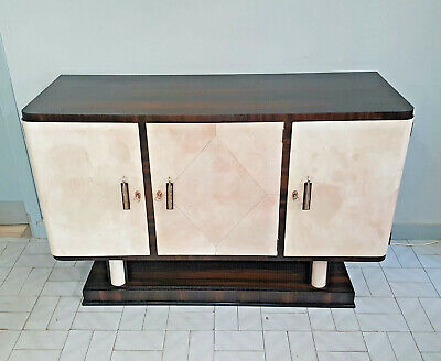 Rare Little Italian Walnut And Parchment Art Deco Sideboard From 1940