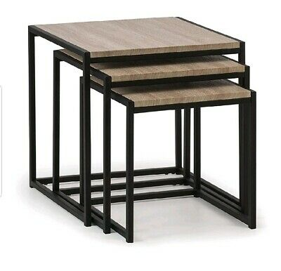 Julian Bowen Nest Of Tables, Black/Sonoma Oak, 45X45X45 Cm