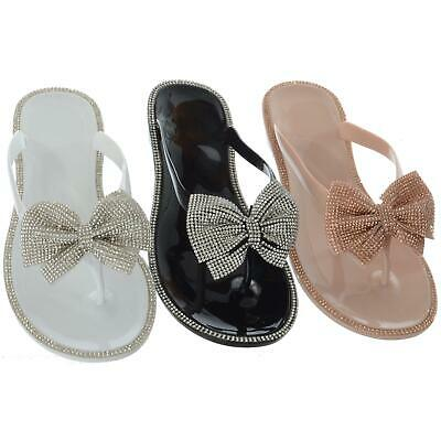 Womens Ladies Diamante Bow Slip On Jelly Flip Flops Toe Post Sandals Shoes Size