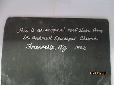 Antique Vintage Slate Roof Tile from 1902 St. Andrew's Episcopal Friendship NY