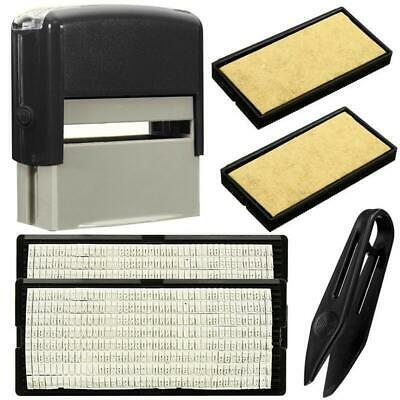 Personalised DIY Self Inking Rubber Stamp Kit Customised Business Name Etc BT