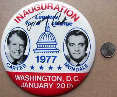 President Jimmy Carter signed Large 1977 Inauguration Pin Button PSA/DNA auto