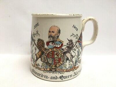 Antique Coronation Of King Edward Vll And Queen Alexandra Mug June 1902 Royal