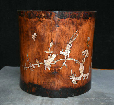 "7"" Old Chinese Huanghuali Wood inlay Shell Flower Bird Brush Pot Pencil Vase"