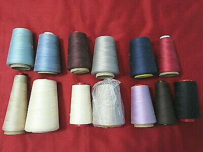 Lot of 13 Vintage Cotton American Thread Large Cone Spools Assorted Colors