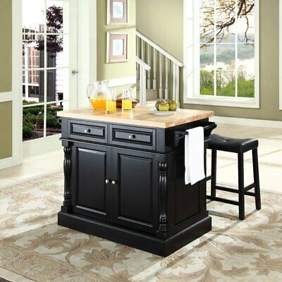 Crosley Butcher Block Top Kitchen Island with 24 in. Upholstered Saddle Stools