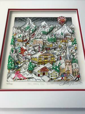 """Charles Fazzino """" Ski,Skate,Snow...Spectacular"""" 3-D Art Signed & Number Deluxe"""