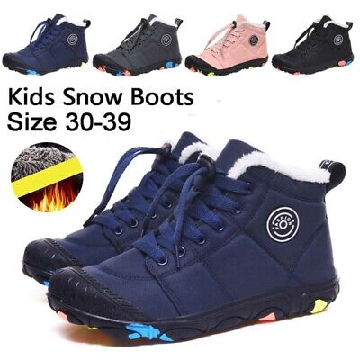 Kids Snow Boots Boys Girls Warm Fur Lined Ankle Boots Winter Trainers Shoes Size