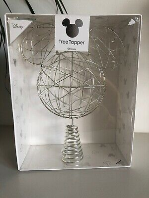 Disney primark Mickey Mouse silver christmas tree top topper Metal Wire RARE