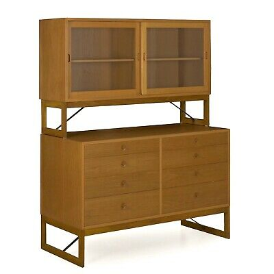 Danish Modern Oak Bookcase Bookshelf Cabinet on Dresser by Børge Mogensen c.1960