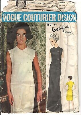 Vintage 60s VOGUE Couturier 1591 Galitzine Mod Sleeveless Dress SZ 16