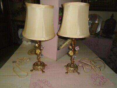 Shabby Vintage Chic Metal Tole  Flowers Table Lamp Pair