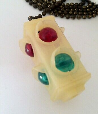 Vintage 1950's 60sGlow In The Dark 4 Way Traffic Light Signal Pull Chain