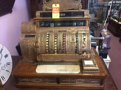 Antique National Brass Cash Register Big Heavy About 380lbs Cool With Keys