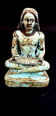 Rare Ancient Egyptian Sitting Scribe Seated Statue Figurine Sculpture Porcelain