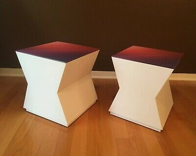 Pair Vintage Retro End / Coffee Tables MCM White Laminate Lucite Top Purple Pink