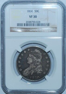 1830 Small 0 NGC VF30 O-107a R.2 Capped Bust Half Dollar