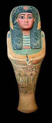 Rare Large Marvelous ancient Egyptian Ushabti with cartouch hieroglyphic antique