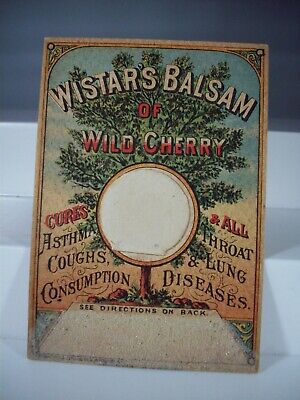 Colorful and Early Quack Cure Advertising Match Scratcher, Wistar's Balsam