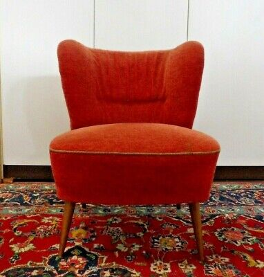 50er Retro Cocktail Sessel Vintage Easy Lounge Chair rot