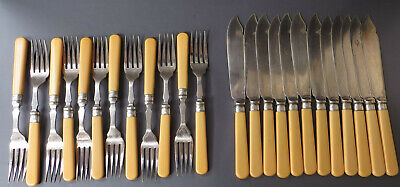 12 Place, 24 Piece Vintage EPNS Silver Plated Set of Fish Knives & Forks