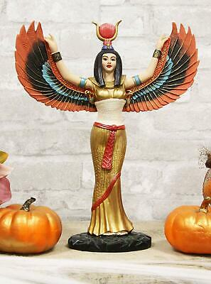 "Ebros Egyptian Goddess Isis Ra with Open Wings On Gold Robe Statue 12"" Tall"