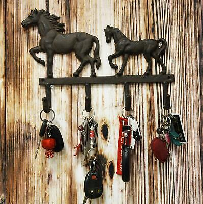 """Cast Iron Western Horse With Foal Coat Key Wall Hanging Hooks 13"""" Wide 4 Peg"""