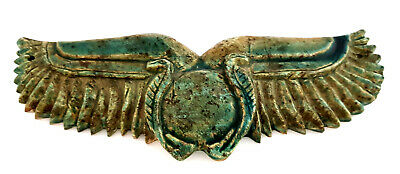 Rare Ancient Egyptian Winged Scarab Ptolemaic Period antiques amulet charm blue