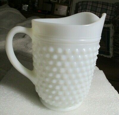 """Vintage 8"""" White Milk Glass Hobnail Water Pitcher Not Marked as to Maker E.U.C"""