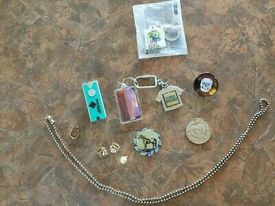 Junk Drawer Lot - Beanie Babies Coin, First Lego League, earrings, key chains