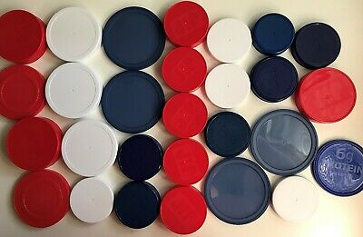 25 Plus (28) Red White & Blue Plastic Lids for Arts / Crafts or Mosaics
