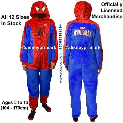OFFICIAL SPIDERMAN ONESY Child Pyjama Halloween Avengers XMas Costume Sleepsuit