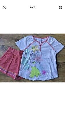 Disney Store Tinkerbell Fairies Top & Shorts Outfit Age 9-10 Years