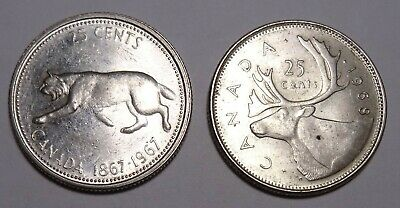 Canada 25 Cents silver Coins, 1967 + 1968, Canadian quarter coin