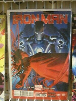 IRON MAN 1 SIGNED BY KIERON GILLEN  W// COA C2E2 MARVEL NOW SOLD OUT GREG LAND