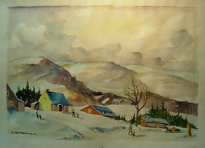 Canadian Quebec Rural Winter Water Color   1918-62 By Marcel Stary Noted Artist