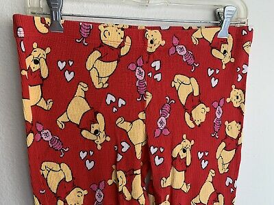 S Winnie The Pooh Piglet Red Thermal Pajama Pants Waffle Disney Small PJs Hearts