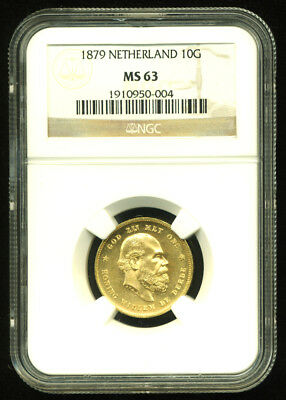 Netherlands 1879 Gold Coin 10 Gulden * Ngc Certified Genuine Ms 63 * Gleaming