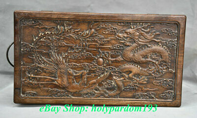"12"" Old Chinese Huanghuali Wood Carving Palace Dragon Phoenix Jewel Case or Box"
