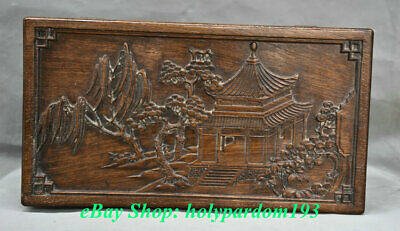 "16"" Old Chinese Huanghuali Wood Dynasty Palace Mountain landscape Jewelry Box"