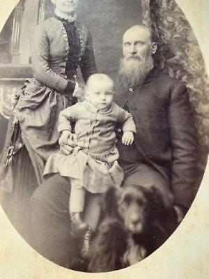 Antique Cabinet Card Photo Man Woman Child & Family Dog