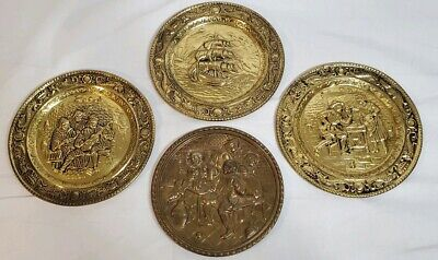 Vintage brass embossed hanging plates Nautical Pub Made in England Lot of 4
